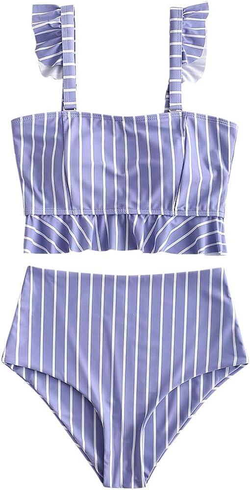 ZAFUL Women's Striped Ruffle High Waisted Two Pieces Tankini Set Swinsuit