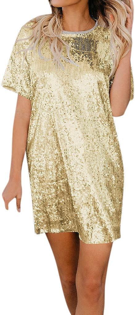 PASATO Women Round Neck Dress Sequin Short-Sleeve Solid Splice Party Evening Loose Mini Dress