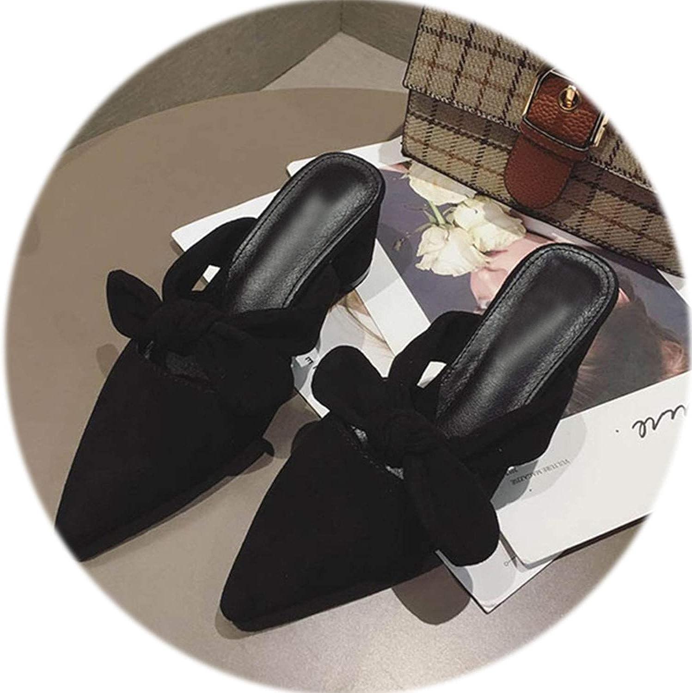 Gooding life Women Pumps High Heels shoes Elegant Flock Med Heel Women Mules Sweet Pointed Toe Ladies shoes