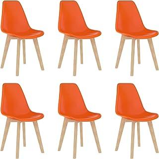 Bulufree 6 sillas de Comedor de plástico Fuerte para Oficina, Comedor, Comedor, sillas de Cocina con Patas de Madera de Haya, Naranja