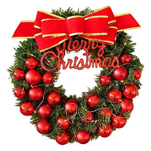 JRZSZMD kerstkrans, kunstzinnig creatief, rode boog, eeuwige bloem, voor bruiloft, Kerstmis, feestje, voor de deur van glas 40cm