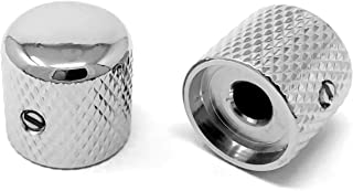 Vintage Forge Chrome Metal Dome Knobs for Fender Telecaster Guitar and Precision P-Bass (Set of 2) 1/4 Inch Solid Shaft DK50US-CHR