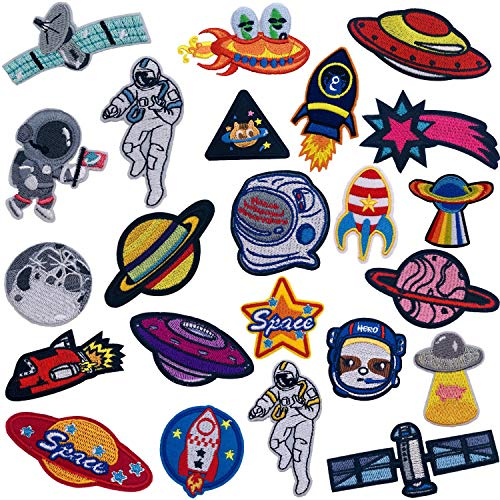 Ouinne 21 Stück Patches Zum Aufbügeln, Raumschiffmuster von Astronauten Patch Sticker Aufnäher Stickerei Applikationen für T-Shirt Jeans Tasche Kleidung
