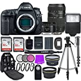 Canon EOS 5D Mark IV Digital SLR Camera with Canon EF 50mm f/1.8 STM Lens + Tamron 70-300mm f/4-5.6 AF Lens + Accessory Bundle