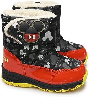 [ディズニー] キッズ ブーツ WC023ESP ミッキー ミニー 子供ブーツ マジック式 スパイク付き 防水仕樣 防寒 防滑 雪国寒冷地仕様 ムーンスター Mickey Minnie MoonStar