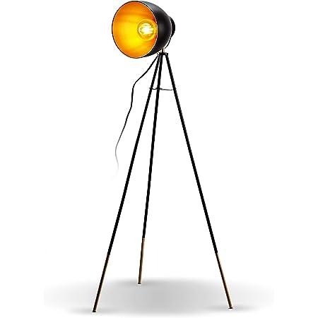 B.K.Licht lampadaire LED vintage, lampe à pied design rétro, Ø abat-jour 24cm, métal noir doré, pour ampoule E27 LED ou halogène de 40W max, hauteur 136 cm