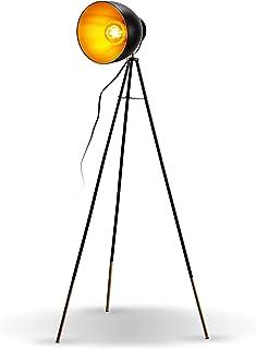 B.K.Licht Lámpara de pie Vintage I Lámpara de pie Retro I Metal I Black-Gold I E27 Portalámparas máx. 40W I Pedal interrup...