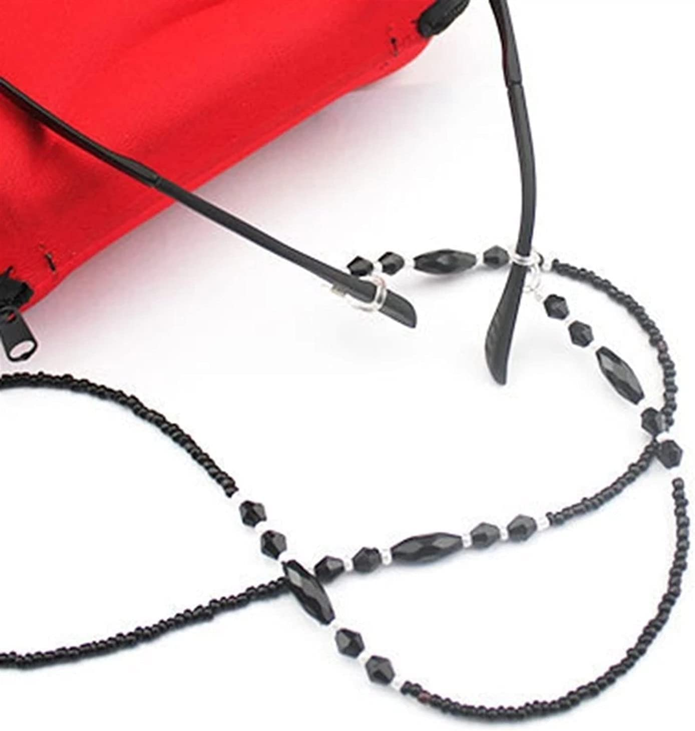 GWSD Fashion Eyeglasses Chains Rope Black Acrylic Beads Chains Anti-Slip Eye-wear Cord Holder Neck Strap Reading Glasses Rope (Color : Black)