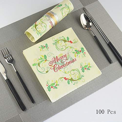 OYPA Papel de servilletas de Navidad, servilletas de Tejido de Estilo navideño Servilletas Suaves 33x33cm / 13x13 '' Colores sólidos Suaves (Amarillo, 100)