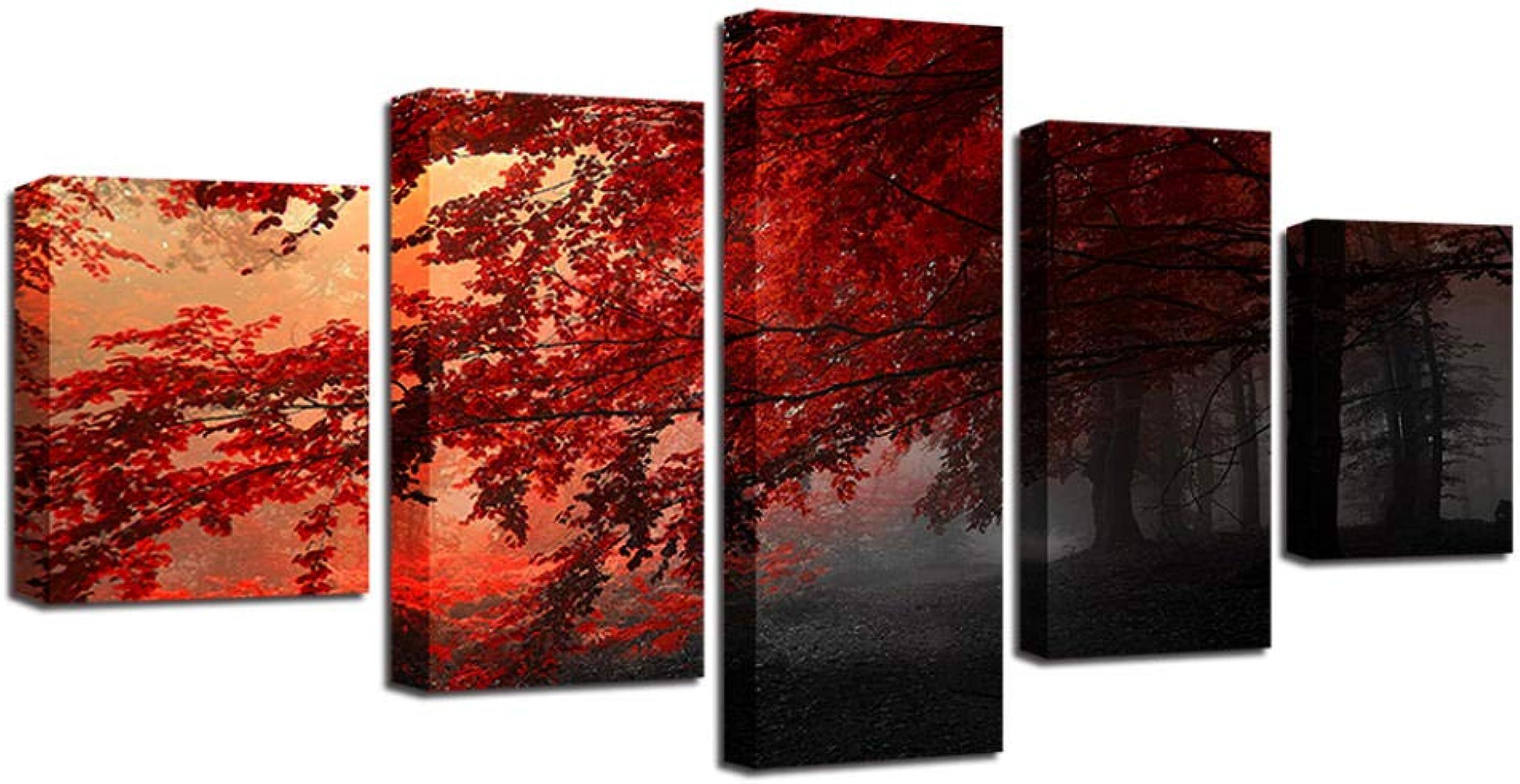 punto de venta barato GZHMW GZHMW GZHMW Cuadros 5 Piezas Moderno Bosque De Arce Lienzos Decorativos Salon 100x50cm Listos para Colgar  grandes ofertas