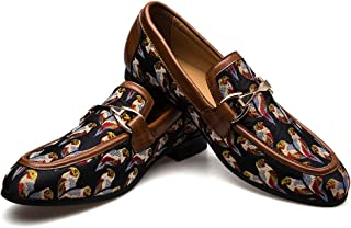 JITAI Men's Leather Shoes Pattern Printing Men's Dress Loafer Shoes Slip-on Casual Loafer Smoking Slipper
