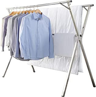 折り畳み式洗濯物干し台 物干しラック、屋外の室内物干し ステンレス 160cm x 73cm x 128cm