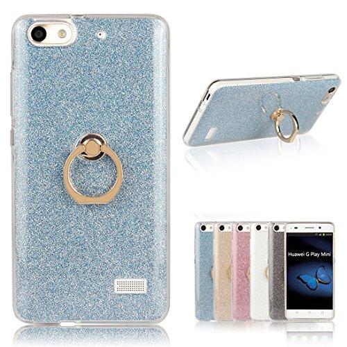 Pheant Für Huawei G Play Mini/Honor 4C Hülle, Schutzhülle mit Ständer Ring [Durchsichtige Handyhülle + Glitzer Papier in Blau]