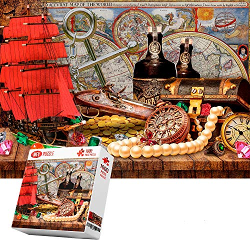 """Jigsaw Puzzles 1000 Pieces for Adults Teens Kids""""Pirates' Treasures"""" 1000 Pieces for Adults Teens Kids Large Puzzle Game Decompression Toys 1000 Pieces Jigsaw Puzzles"""