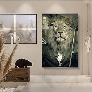 Malowanie diamentami 5D Smoke Lion, duży rozmiar DIY zestawy do malowania diamentami według cyfr, diamentowy obraz dla dor...