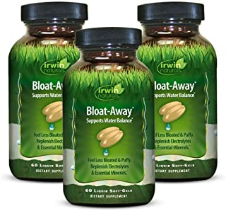 Irwin Naturals Bloat-Away - Water Balance Support - Replenish Electrolytes & Essential Minerals - 60 Liquid Softgels (Pack...
