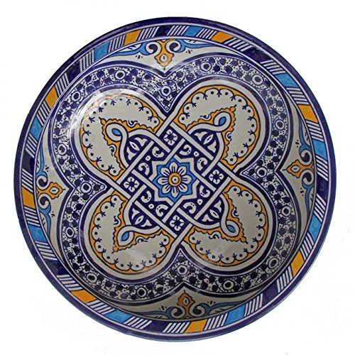 Casa Moro Orientalische Keramik Schale f023 rund Ø 34 cm bunt | Handbemalte Servierschale Handmade Schüssel Obstteller | marokkanischer Teller Salatschüssel Obstschale | ksf023