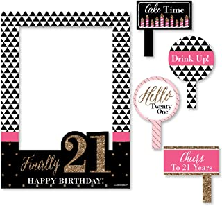 Big Dot of Happiness Finally 21 Girl - Birthday Party Selfie Photo Booth Picture Frame & Props - Printed on Sturdy Material