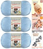 Bernat Softee Baby Yarn 3 Pack Bundle Includes 3 Patterns DK Light Worsted (Pale Blue)