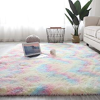 Wongfon tapis arc-en-ciel pour chambre de filles, tapis colorés moelleux modernes tapis de sol mignons, tapis de jeu Shagg...