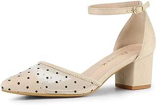 Allegra K Women's Polka Dot Lace Pointed Toe Chunky Heels Pumps