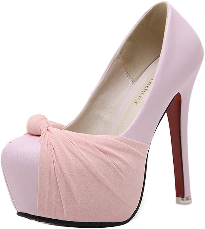Ladola Womens Spikes Stilettos Platform Round-Toe Urethane Pumps shoes
