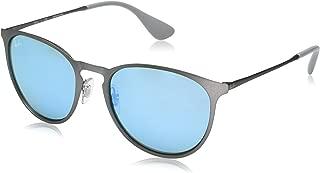 RB3539 Erika Round Metal Sunglasses, Rubber Gunmetal/Green Light Flash Blue, 54 mm