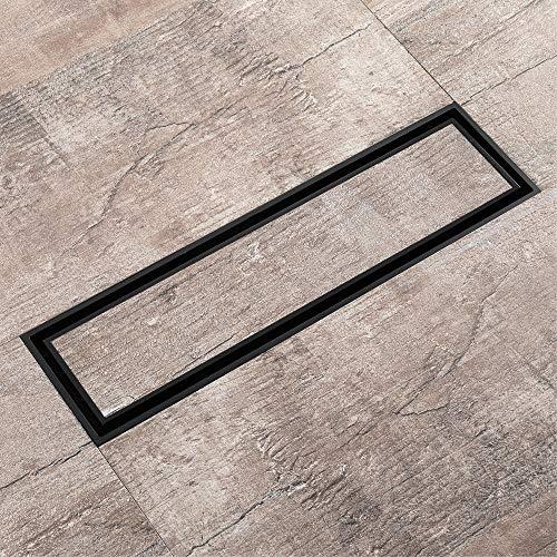 PIJN Bodenablauf Rechteckig Voll Copper Badezimmer Große Reihe von Insect-Proof und Unsichtbare Boden Deodorant ablassen Schwarz (Color : Metallic, Size : 310x82x30mm)