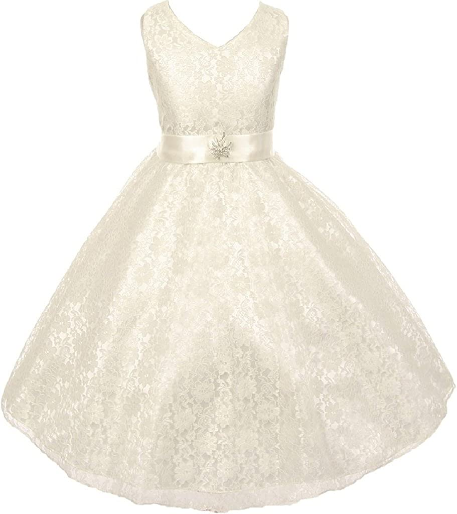 Lace All Over Bridal Satin Brooch Little Girl Special Occasion Dresses