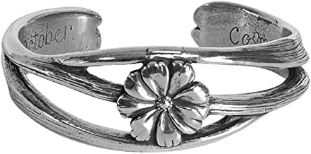 Salisbury Pewter - Nouveau Flower of The Month October (Cosmos) Cuff Bracelet - Made in The USA - Item #FOMB-10