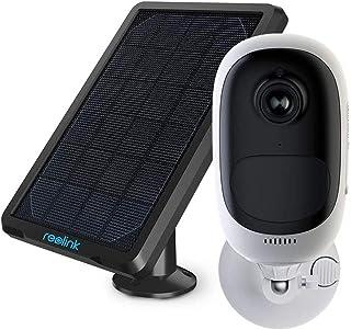 Reolink Cámara Vigilancia Exterior WiFi Batería y Panel Solar 1080P HD Sin Cable Impermeable Audio Bidireccional PIR Detección de Movimiento Visión Nocturna Hogar Seguridad Argus Pro