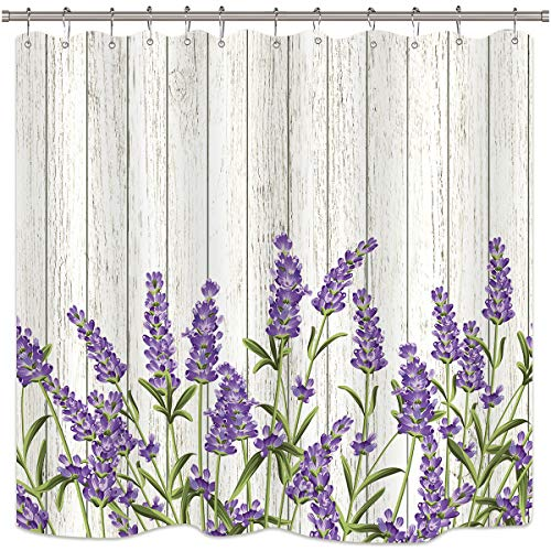 Riyidecor Wooden Lavender Shower Curtain Rustic Purple Flowers Floral Grunge Herbs Background Decor Fabric Polyester Waterproof 72Wx72H Inch 12 Pack Plastic Hooks