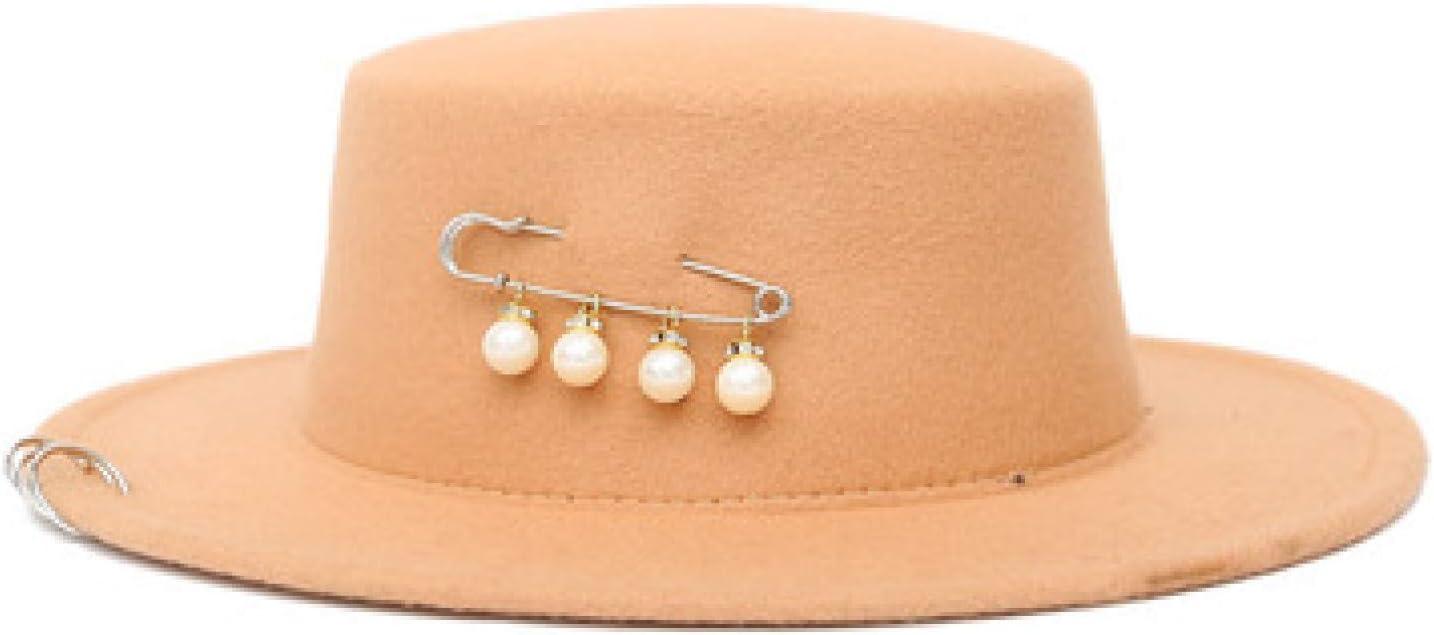 BAJIE Fedora Pin Pearl Initial Letter Retro Fashion Black Top Felt Fedora Hat Male Straw Hat Topper Church Hat For Women