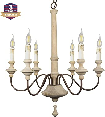 RC Chandeliers French Chandelier Wood Chandelier 6-Lights Dining Room Chandelier Kitchen Island Chandelier Kitchen Chandelier Retro Candle Chandelier Farmhouse Chandelier