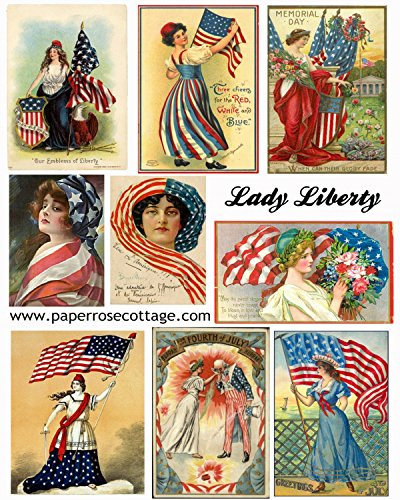 4th of July Vintage Lady Liberty Patriotic Images Collage Sheet Collection Print for Scrapbooking, Card Making, Crafts