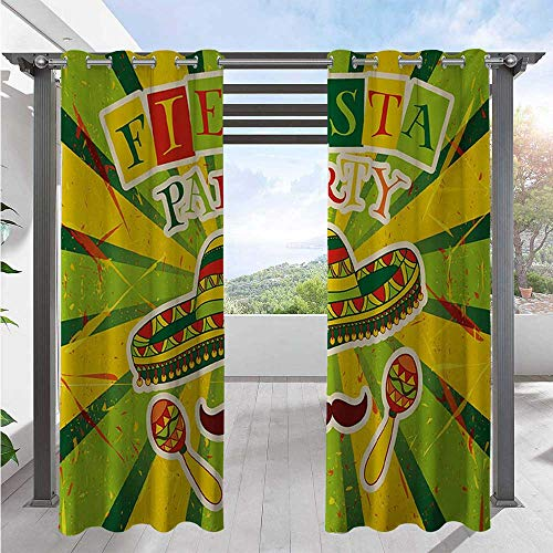 Outdoor Patio Curtain Sprites with Sombrero Maracas Mustache Mexican Hand Drawn Illustration Elegant Waterproof Curtain Gives A Nice Polished Look Green Yellow Vermilion W72 x L84 Inch