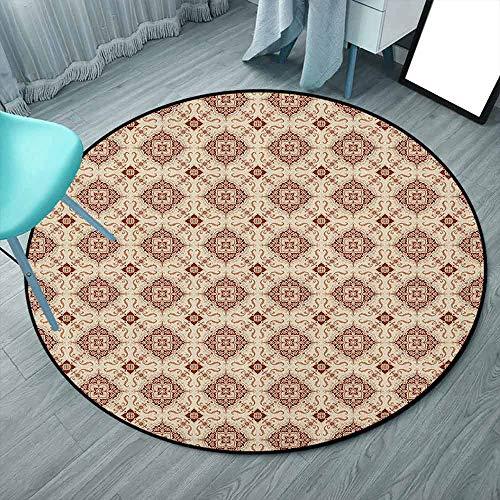 Area Rug - Tappeto rotondo reversibile in iuta e T/C, tessuto a mano, per soggiorno, camera da letto, multicolore, geometrico, mosaico, quadrati e strisce 3'3'-Round Stile: 13.