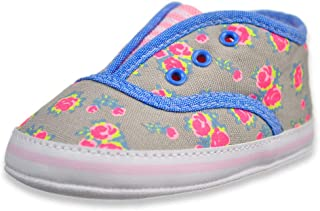 First Steps Baby Girls' Striped Vamp Sneaker Booties