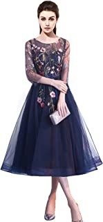 YSMei Women's Long 3D Flower Prom Party Dress Backless Evening