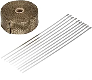 RuleaxAsi 1# 15m Heat Wrap Exhaust Manifold Downpipe 10 30cm Cable Ties for Car Motorcycle