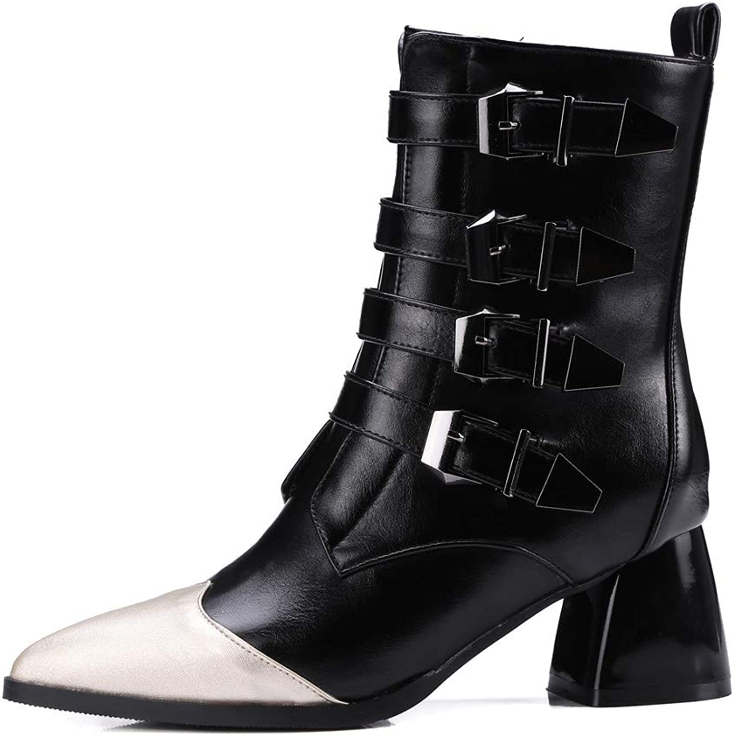 Theshy Women's Fashion Leather Belt Buckle Thick Heel shoes Pointed-Toe Martin Boots
