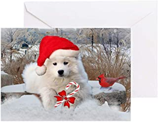 CafePress American Eskimo Christmas Sce Greeting Cards (Pk O Greeting Card (20-pack), Note Card with Blank Inside, Birthday Card Glossy