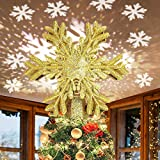 Christmas Tree Topper with LED Rotating Snowflake Projector Lights 3D Lighted Ornaments Festival Lights(Gold)