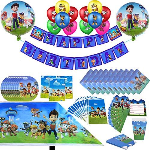 Paw Dog Patrol Party Supplies Decoración Set Happy Birthday Party Vajilla Packs incluye platos, tazas, mantel, servilletas, globo, pancarta para 10 niños niñas niños