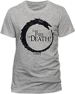 AWDIP Men's Official The Hobbit I Am Fire I Am Death T-Shirt Battle Of The Five Armies Adventure Movie