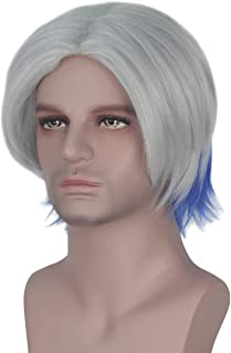 Miss U Hair Short Men Straight Ombre Hair Silver Grey with Blue Strands Center Party Halloween Cosplay Costume Wig