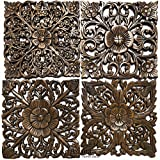 Asiana Home Decor-Floral Carved Wood Wall Art Plaques. Tropical Home Decor. 12' (Brown, Set of 4)