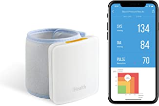 "iHealth Sense Fully Automatic Wrist Smart Blood Pressure Cuff Monitor for iOS and Android, 5.3"" - 8.7"" Cuff Size, Rechargeable Battery Built-in"