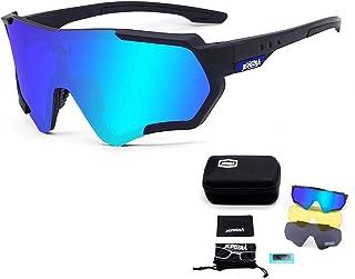 JEPOZRA Gafas de Sol Deportivas Polarizadas Protección UV400 Gafas de Ciclismo con 3 Lentes Intercambiables para Ciclismo, Béisbol, Pesca, esquí, Funcionamiento