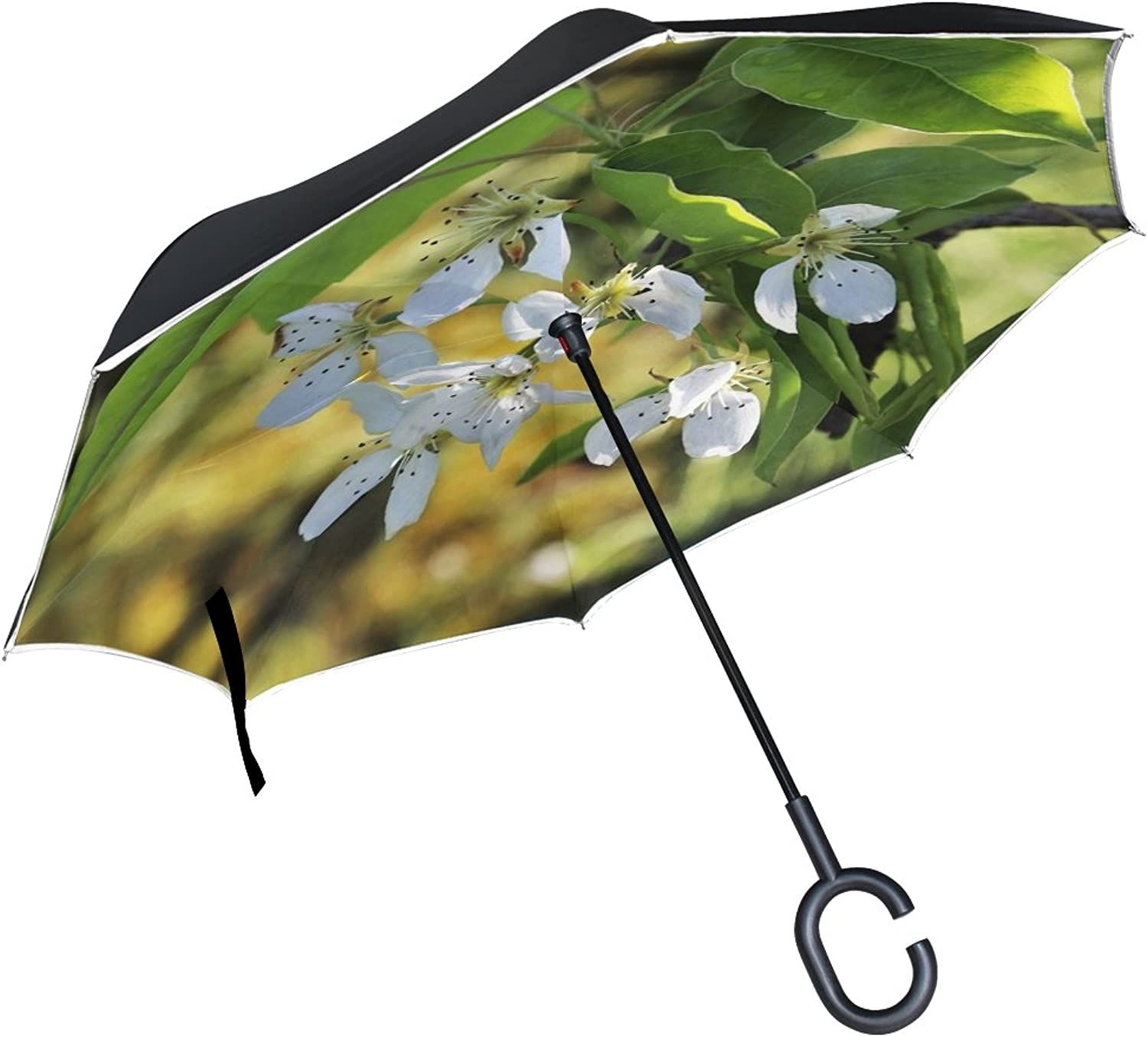Double Layer Ingreened Spring Tree Fruit Nature Plant Leaf Branch Umbrellas Reverse Folding Umbrella Windproof Uv Predection Big Straight Umbrella for Car Rain Outdoor with CShaped Handle